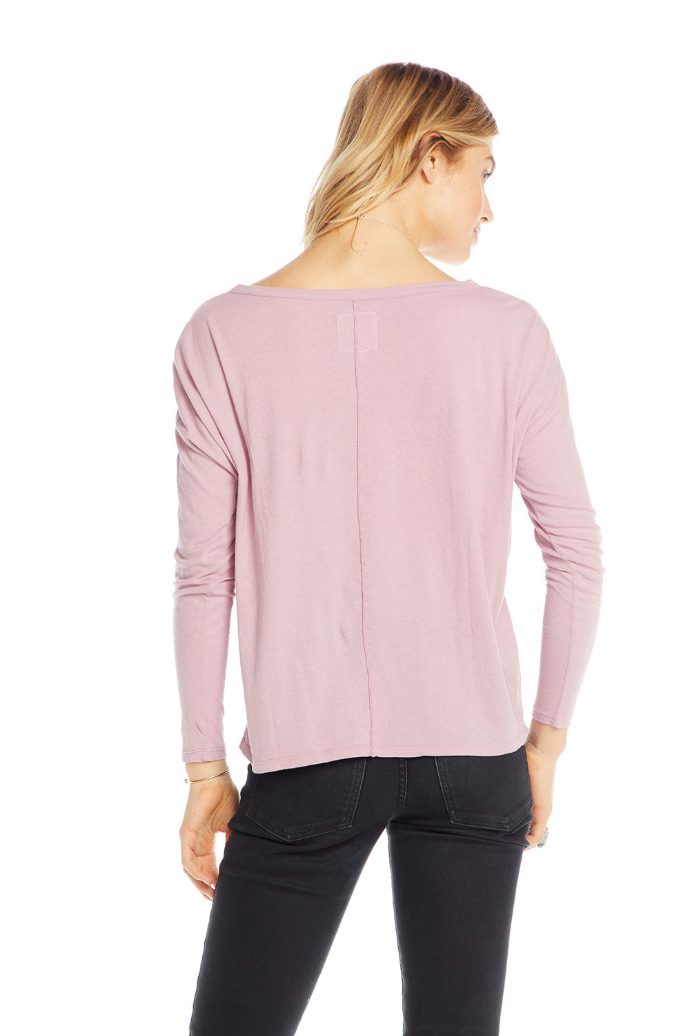 Cotton Basics Long Sleeve Crew Neck Seamed Back Dolman Tee BCA - chaserbrand