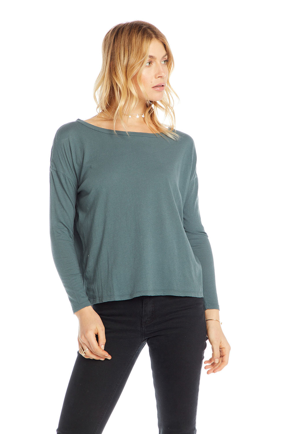 Cotton Basics Long Sleeve Crew Neck Seamed Back Dolman Tee WOMENS - chaserbrand