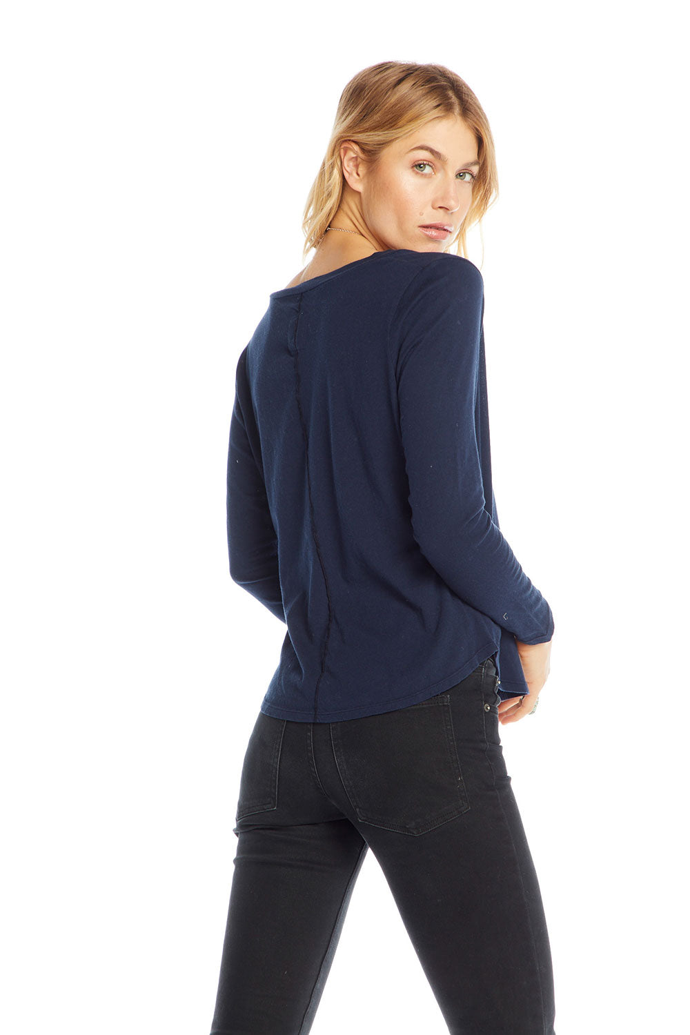 Cotton Basics Long Sleeve V-neck Seamed Back Pocket Tee WOMENS - chaserbrand
