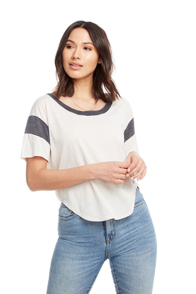 Blocked Jersey Short Sleeve Drop Shoulder Shirttail Football Tee WOMENS chaserbrand4.myshopify.com