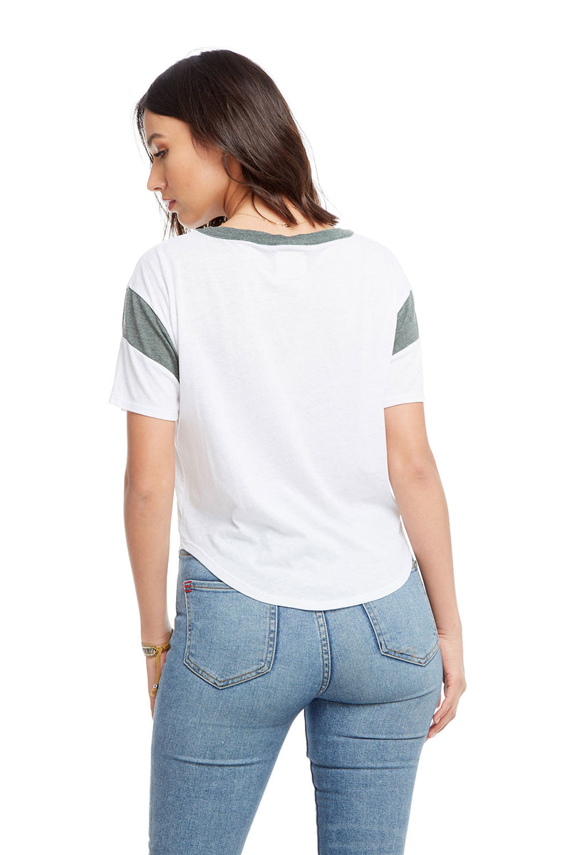 Blocked Jersey Short Sleeve Drop Shoulder Shirttail Football Tee, WOMENS, chaserbrand.com,chaser clothing,chaser apparel,chaser los angeles