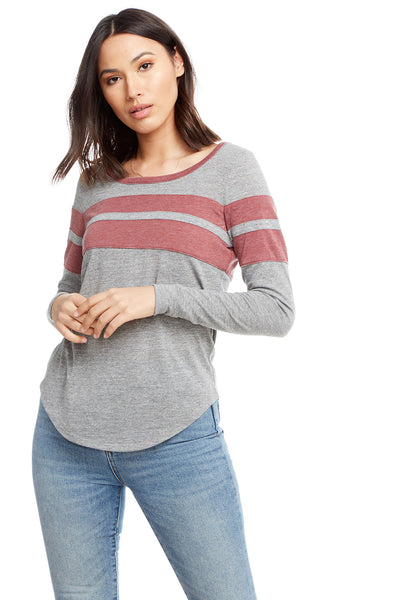 Blocked Jersey Long Sleeve Shirttail Crew Neck Tee with Strappings WOMENS chaserbrand4.myshopify.com
