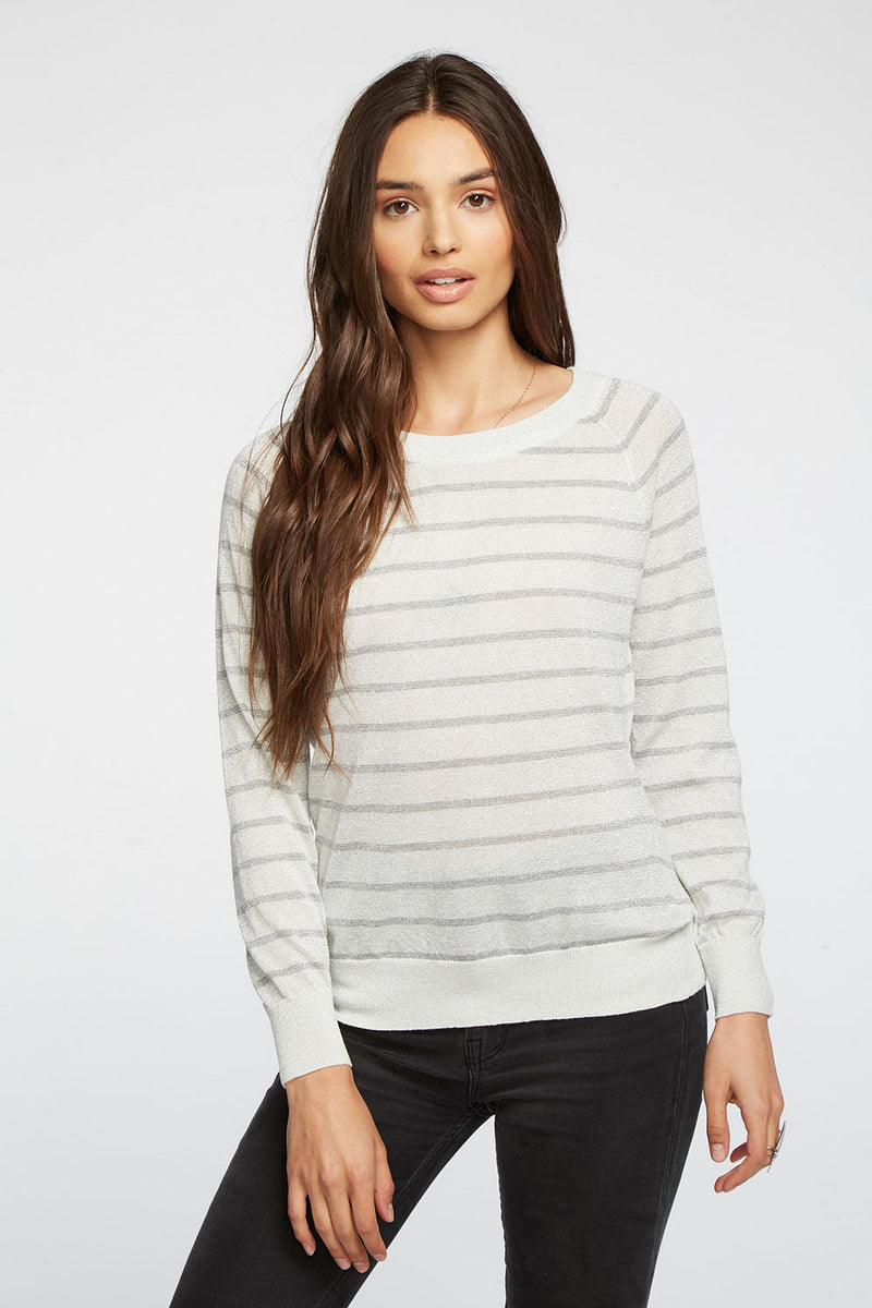 Striped Lurex Open Neck Raglan Pullover Sweater WOMENS chaserbrand4.myshopify.com