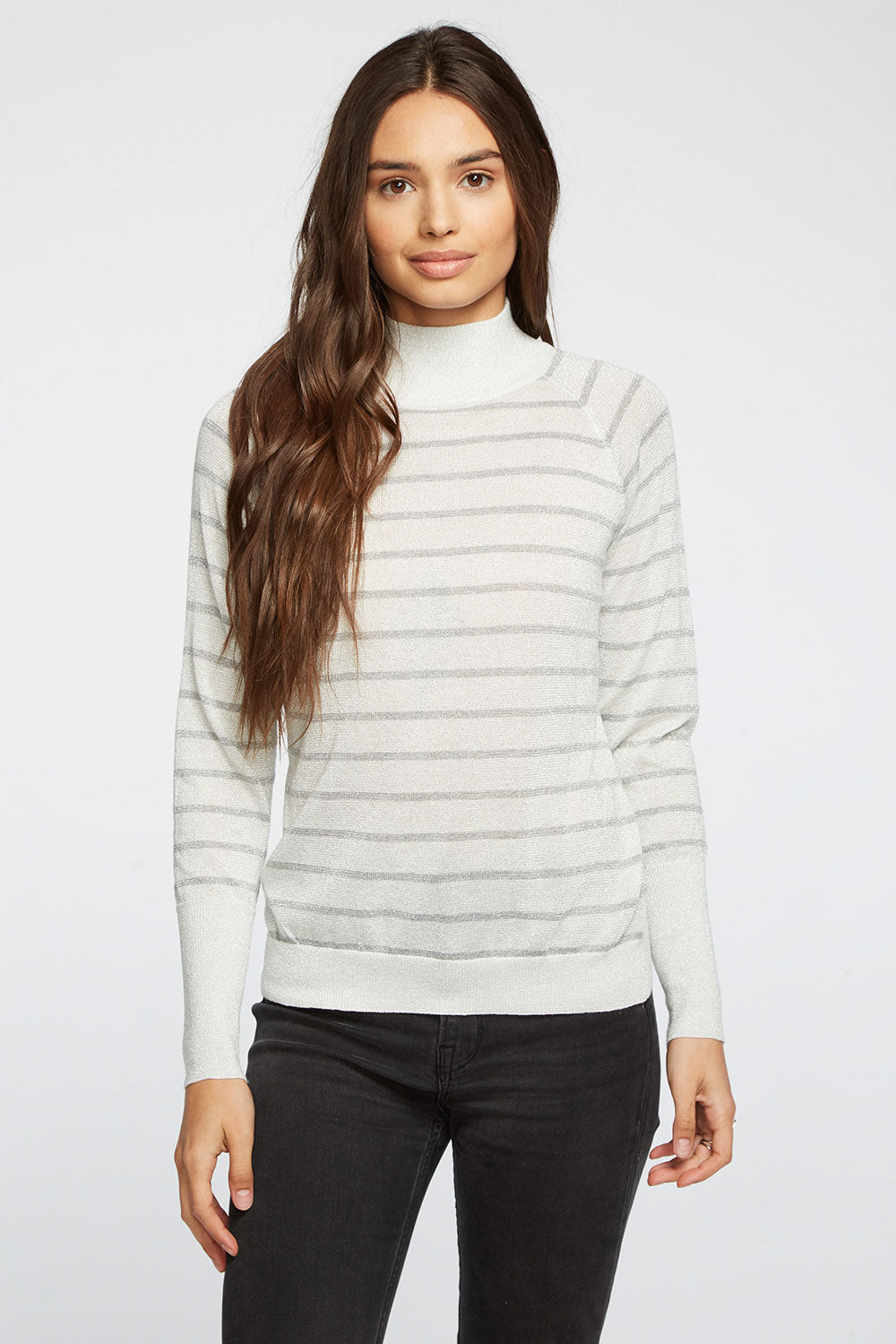 Striped Lurex Turtleneck Raglan Shirttail Sweater WOMENS chaserbrand4.myshopify.com