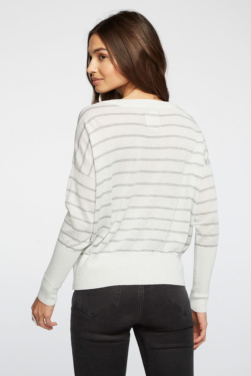 Striped Lurex Cropped Boxy V-Neck Pullover Sweater WOMENS chaserbrand4.myshopify.com