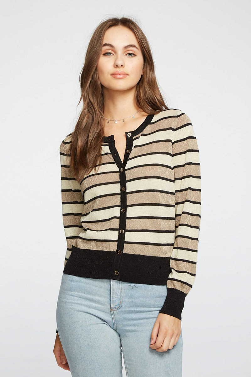 Striped Lurex Cropped Button Down Cardigan Sweater WOMENS chaserbrand4.myshopify.com
