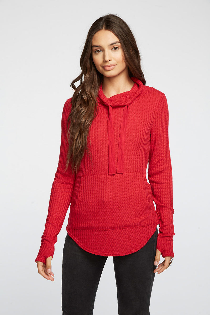 Thermal Thumbhole Mock Neck Kanga Pocket Pullover WOMENS chaserbrand4.myshopify.com