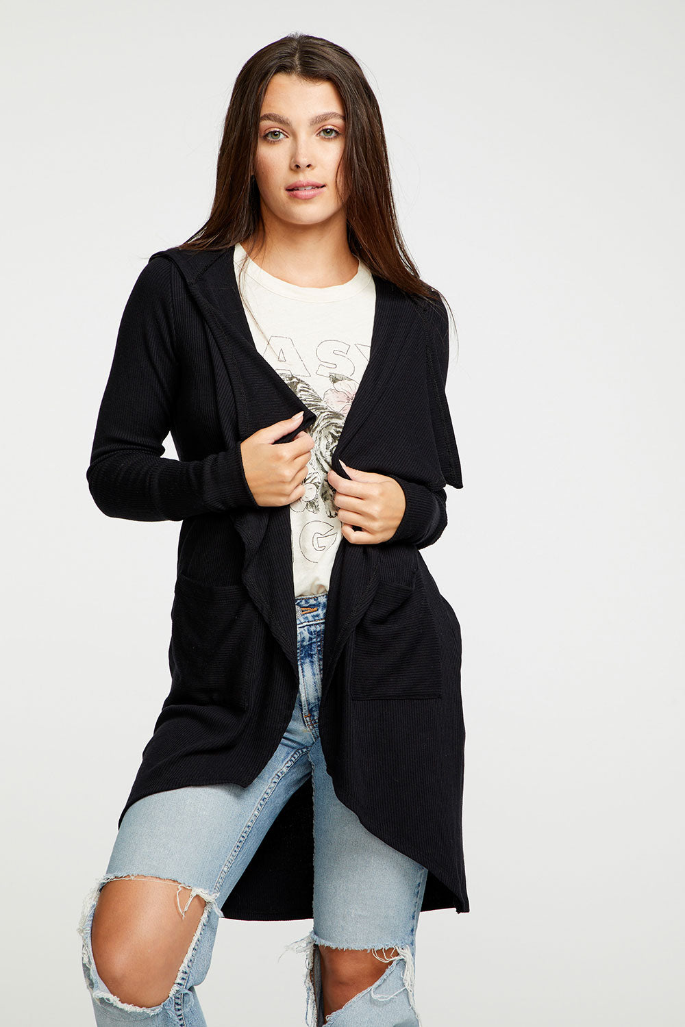 Cozy Rib Drape Front Hooded Duster WOMENS chaserbrand4.myshopify.com