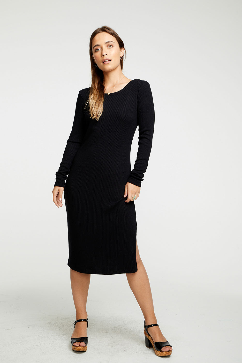 Cozy Rib Scoop Back Bodycon Midi Dress WOMENS chaserbrand4.myshopify.com