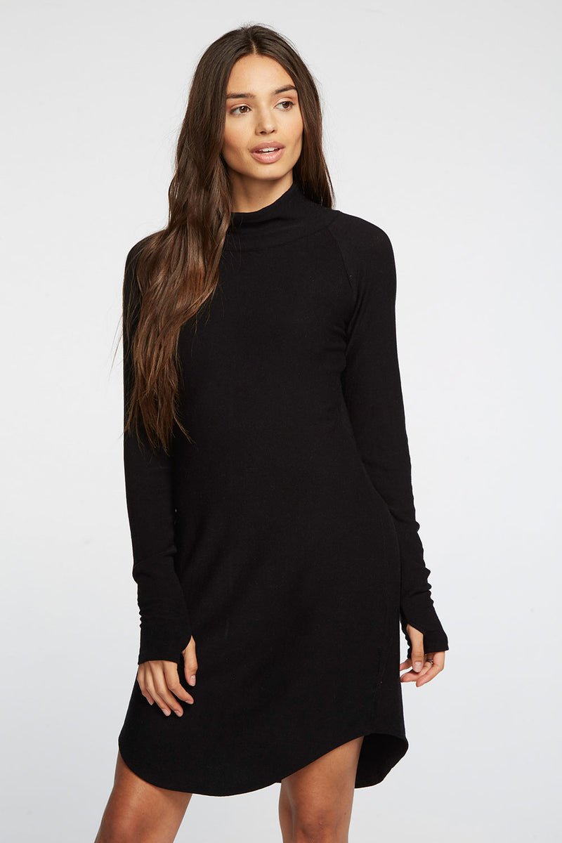 Cozy Knit Raglan Turtleneck Shirttail Mini Dress WOMENS chaserbrand4.myshopify.com