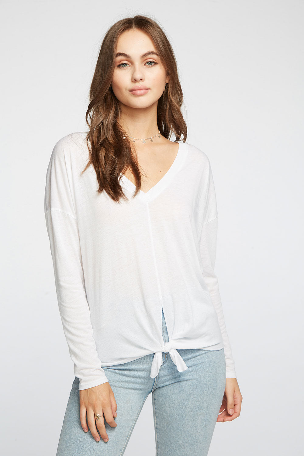 Vintage Jersey Drop Shoulder Tie Front V-Neck Boxy Tee WOMENS chaserbrand4.myshopify.com