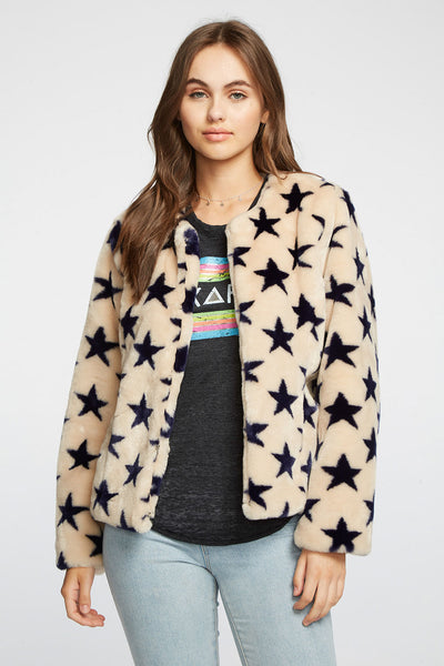 Star Faux Fur Collarless Jacket WOMENS chaserbrand4.myshopify.com