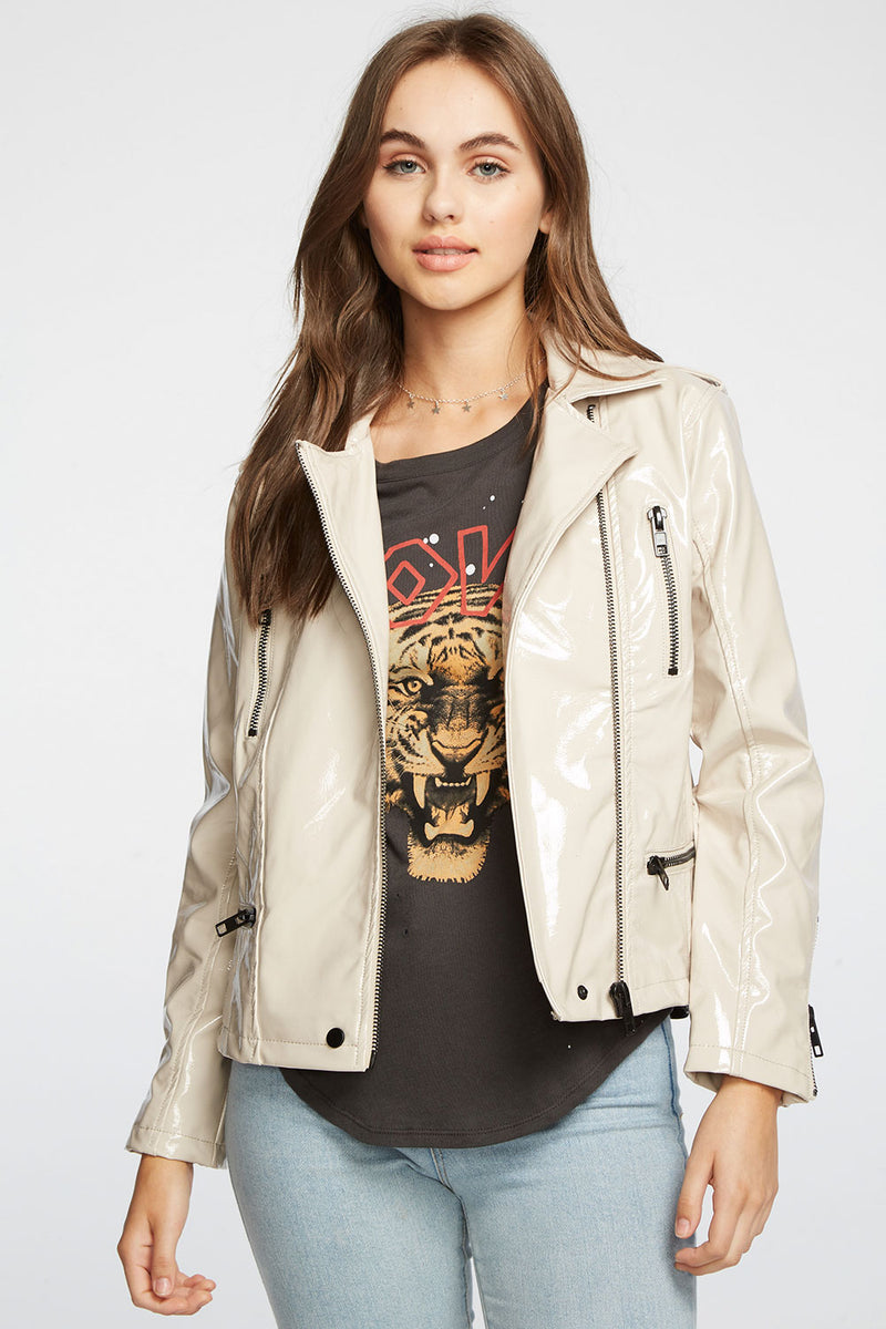 Shiny Vinyl Moto Jacket with Zippers, WOMENS, chaserbrand.com,chaser clothing,chaser apparel,chaser los angeles