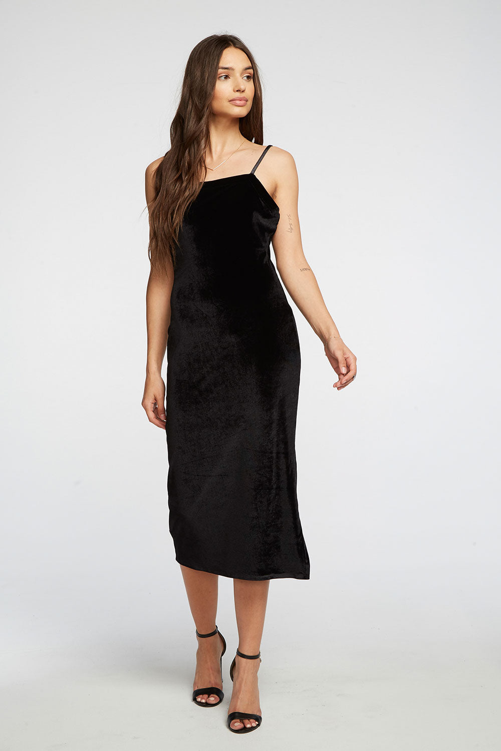 Stretch Velvet V Back Midi Cami Dress WOMENS chaserbrand4.myshopify.com