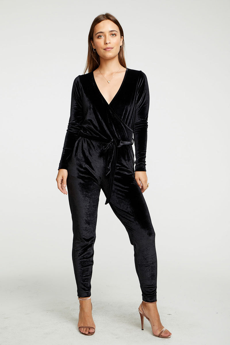 Stretch Velvet Surplice Belted Jumpsuit WOMENS chaserbrand4.myshopify.com