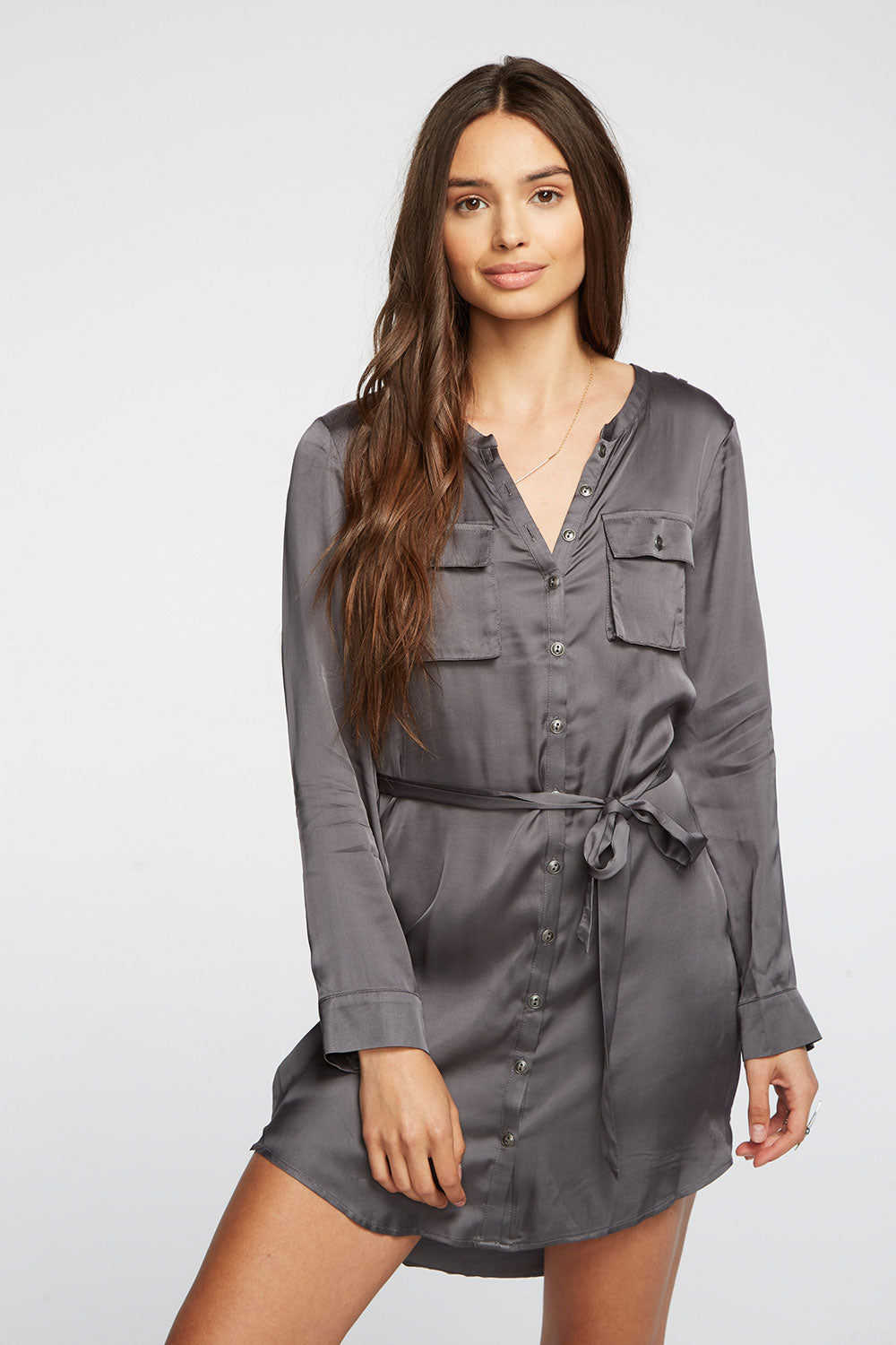 Silky Basics Button Front Henley Shirttail Hi Lo Dress WOMENS chaserbrand4.myshopify.com