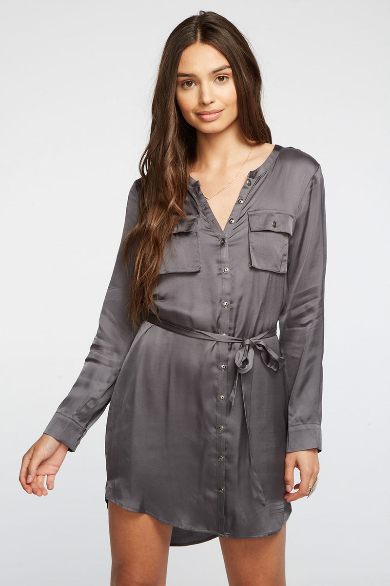 Silky Basics Button Front Henley Shirttail Hi Lo Dress, WOMENS, chaserbrand.com,chaser clothing,chaser apparel,chaser los angeles