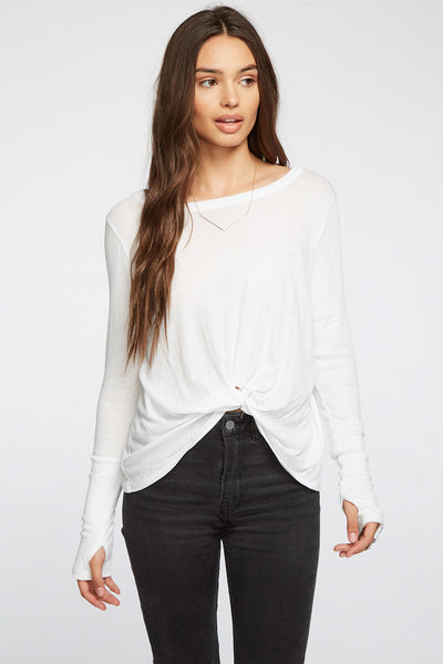 Gauzy Cotton Thumbhole Twist Front Tee WOMENS chaserbrand4.myshopify.com