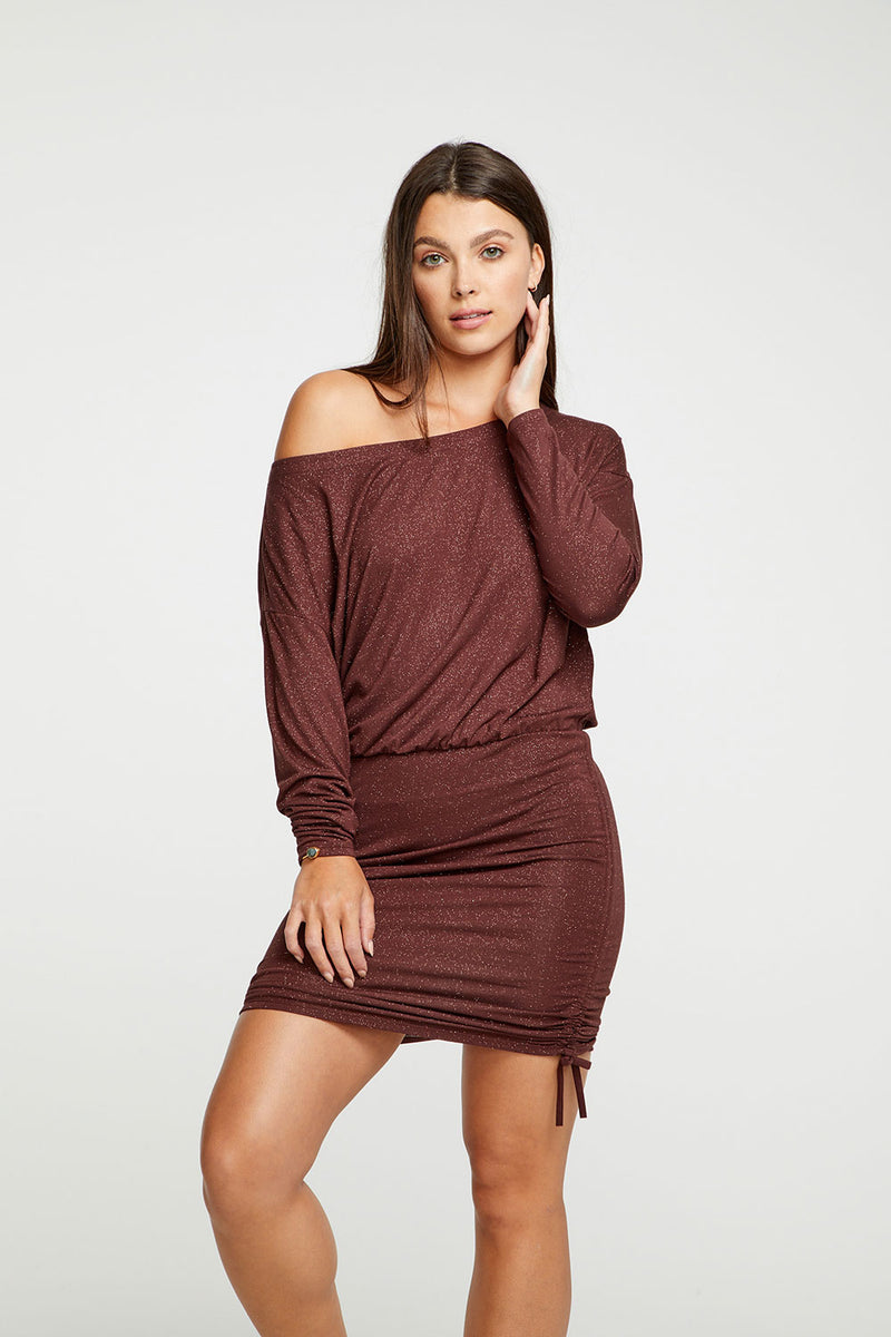 Diamond Jersey Drop Shoulder Drawstring Off Shoulder Mini Dress WOMENS chaserbrand4.myshopify.com