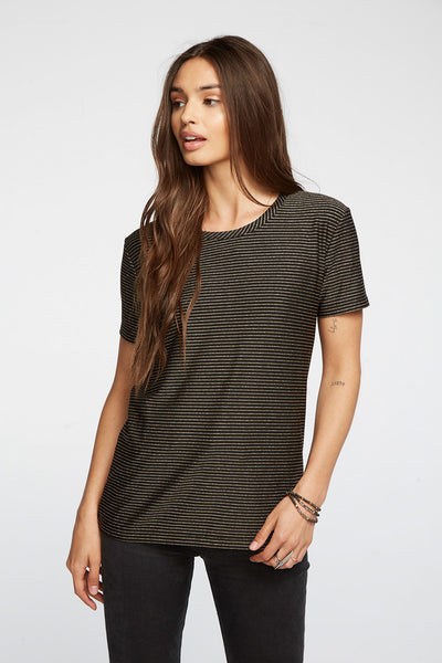 Metallic Stripe Short Sleeve Crew Neck Easy Tee WOMENS chaserbrand4.myshopify.com