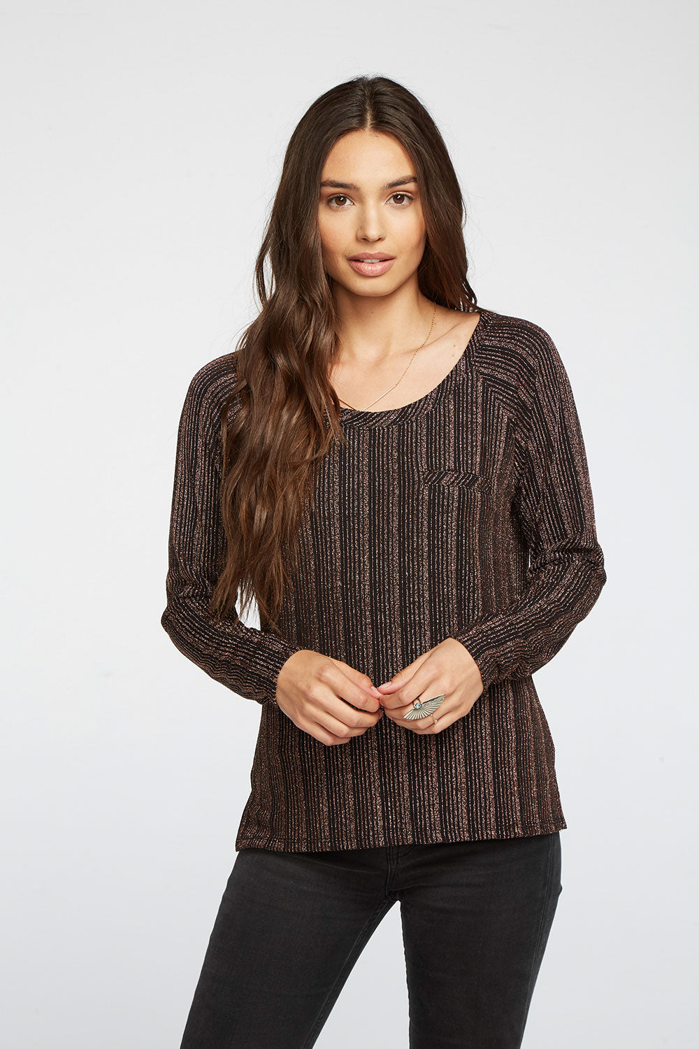 Metallic Stripe Split Side Hi Lo Welt Pocket Raglan WOMENS - chaserbrand