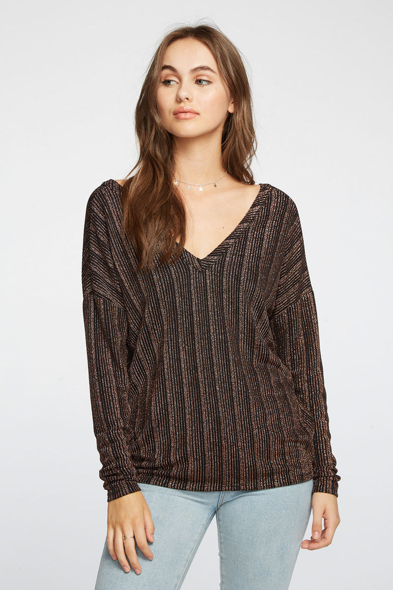 Metallic Stripe Drop Shoulder Double V Top WOMENS chaserbrand4.myshopify.com
