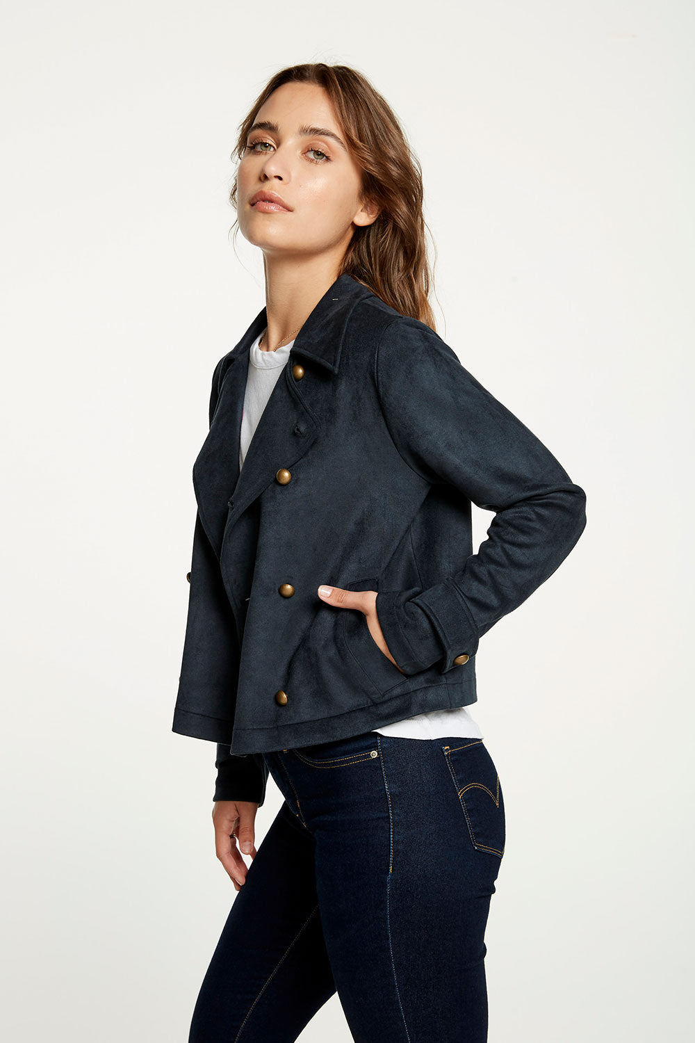 Stretch Faux Suede Cropped Peacoat WOMENS - chaserbrand