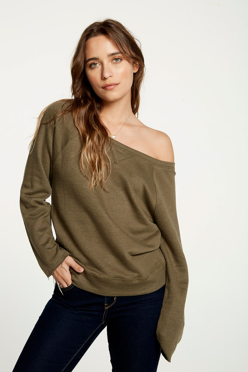 Linen French Terry Long Sleeve Off Shoulder Raglan Pullover