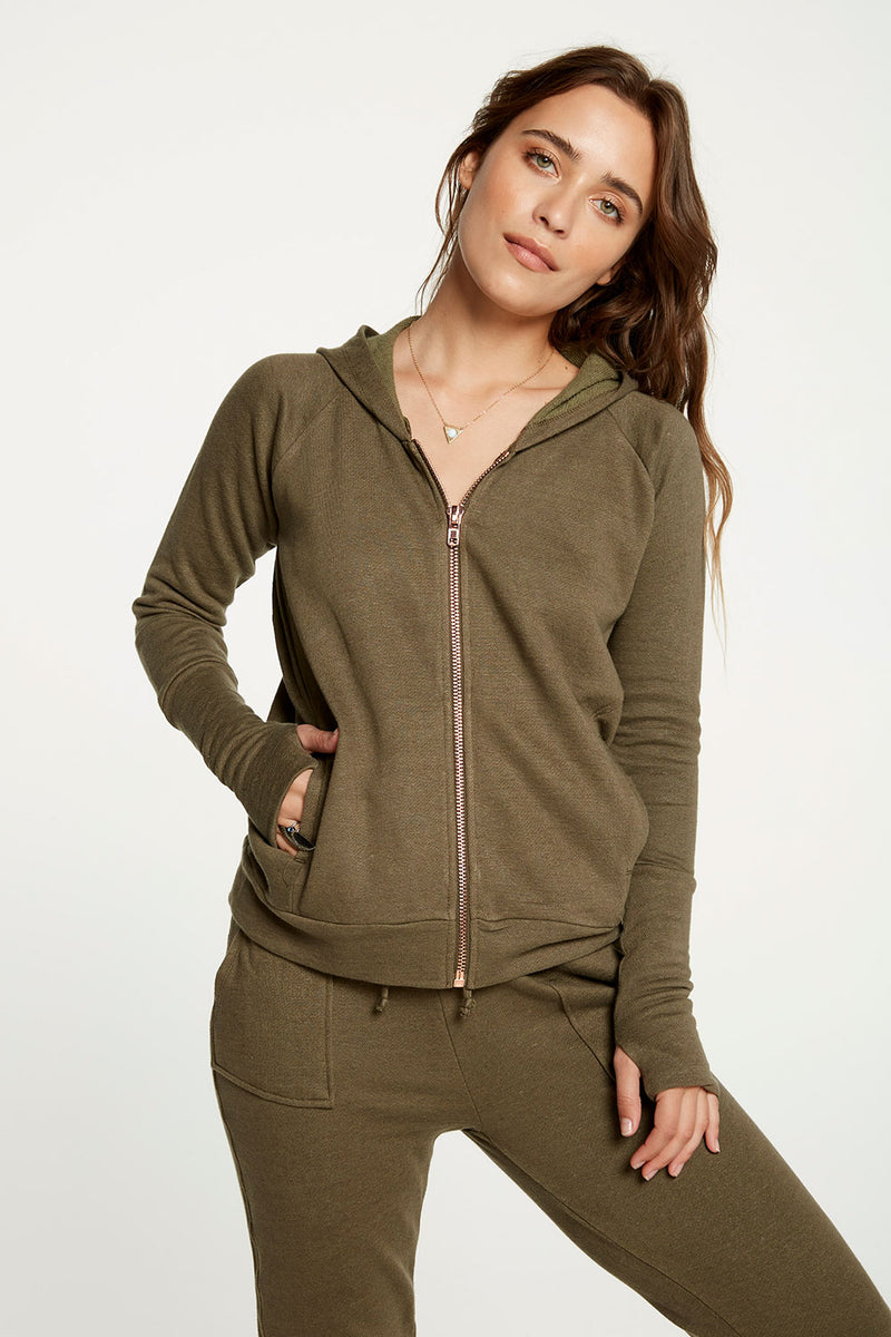 Linen French Terry Long Sleeve Cuffed Thumbhole Zip Up Hoodie WOMENS chaserbrand4.myshopify.com