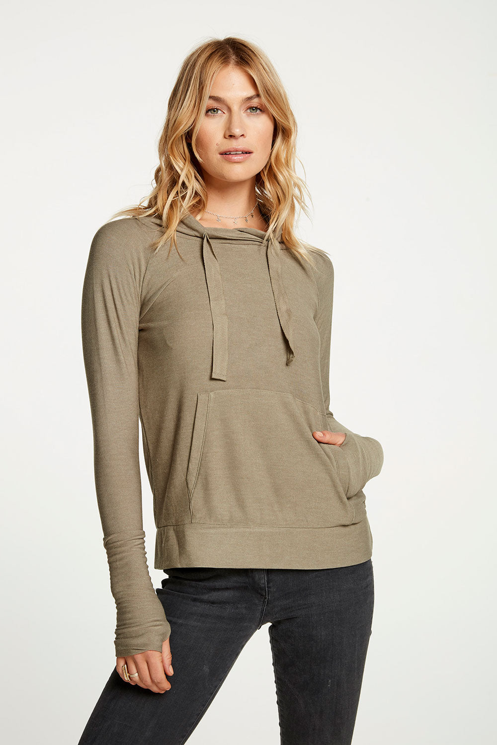 Cozy Knit Long Sleeve Funnel Neck Thumbhole Pullover