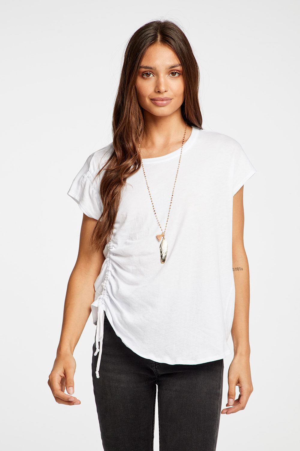 Gauzy Cotton Drawstring Cap Sleeve Lo Hi Tee