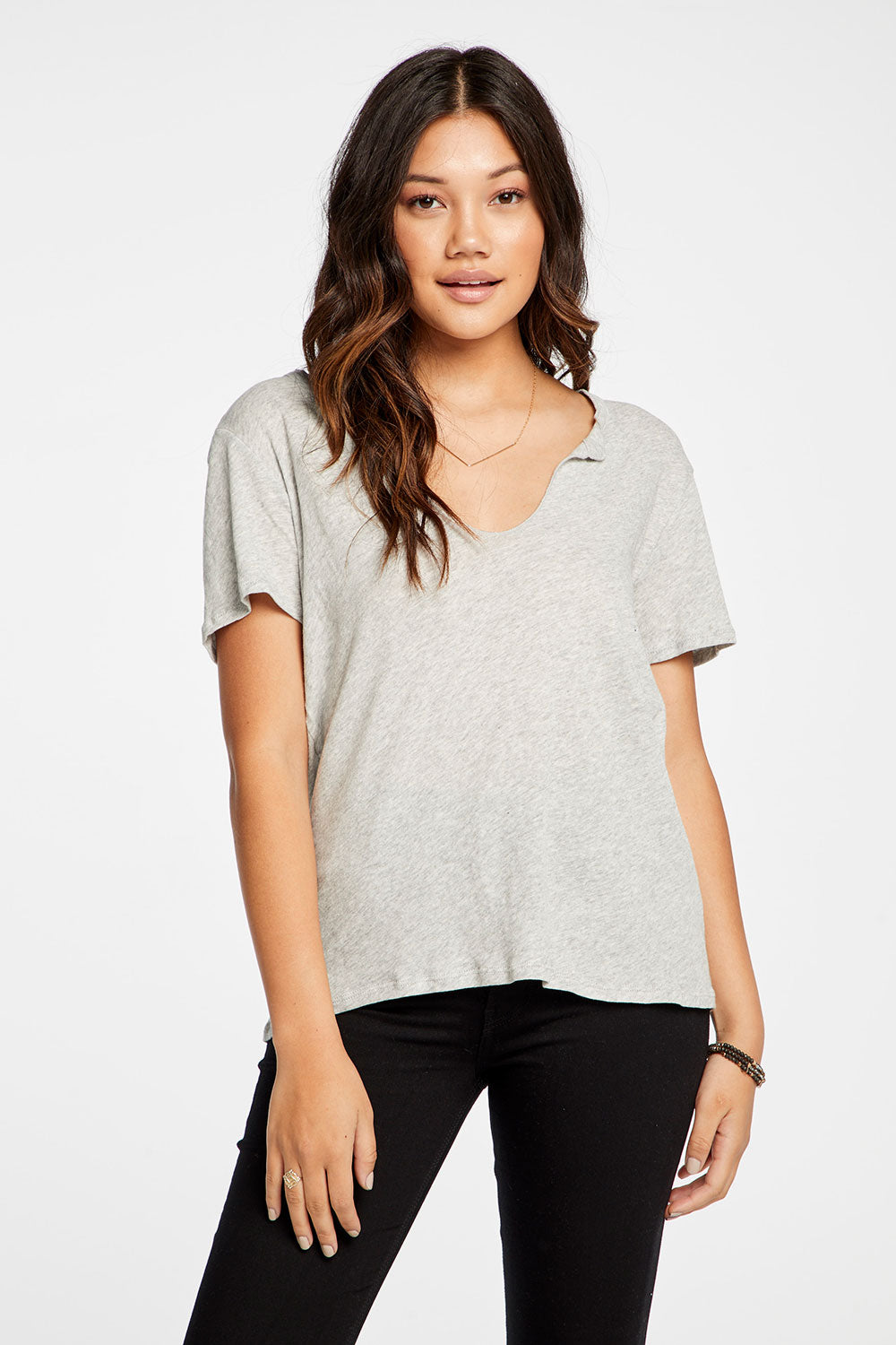 Gauzy Cotton Short Sleeve Split Neck Hi Lo Tee