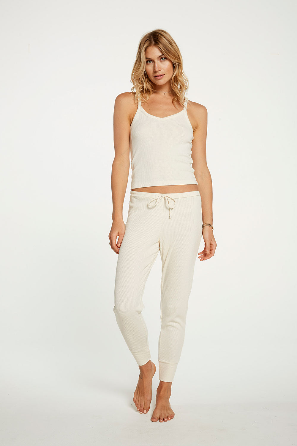 Cozy Rib Cropped Double V Cami