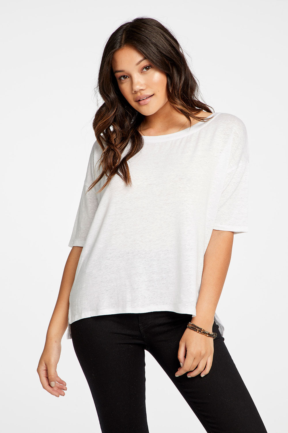 Linen Jersey Cropped Short Sleeve Boxy Hi Lo Tee WOMENS chaserbrand4.myshopify.com
