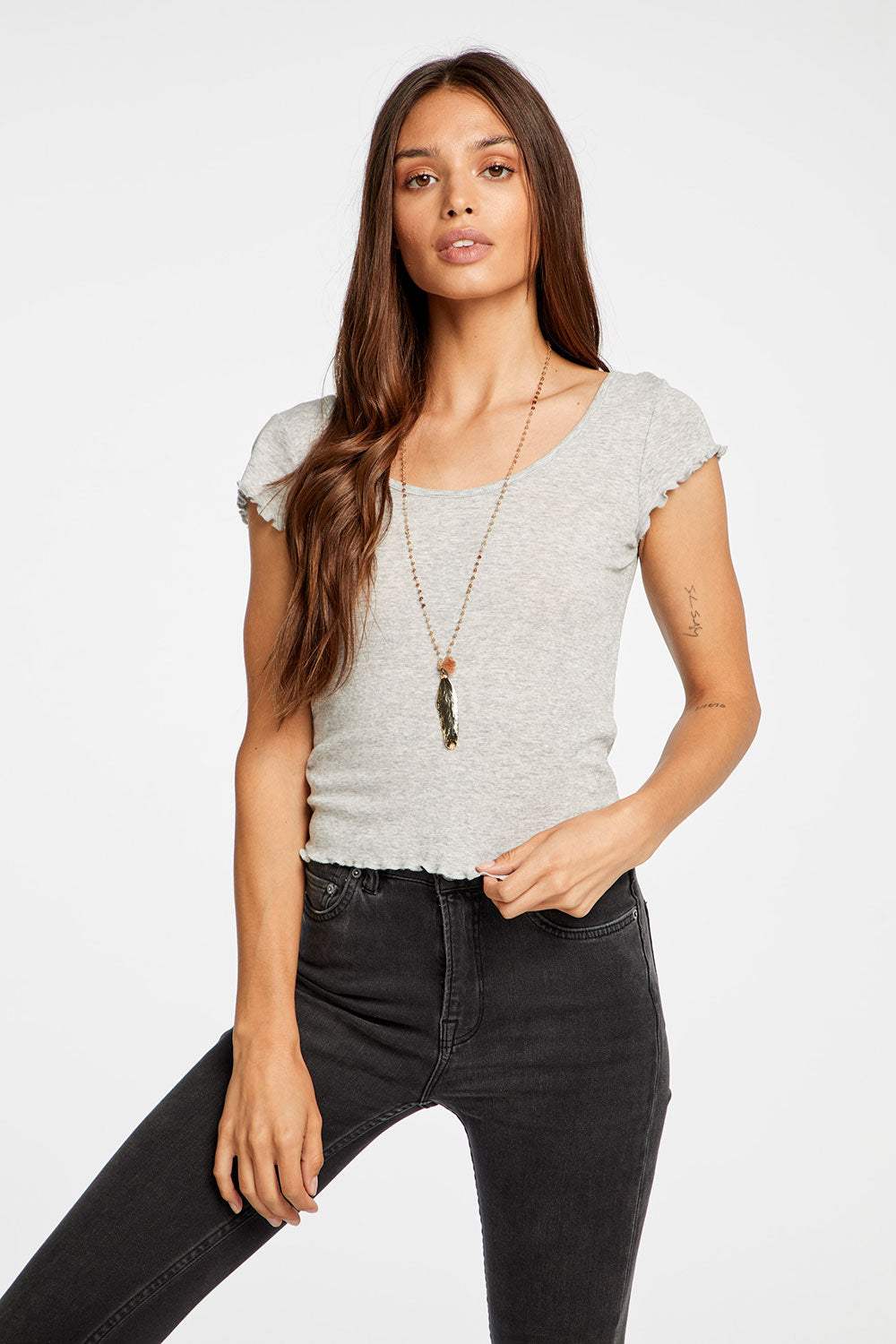 Baby Rib Cropped Cap Sleeve Double Scoop Tee