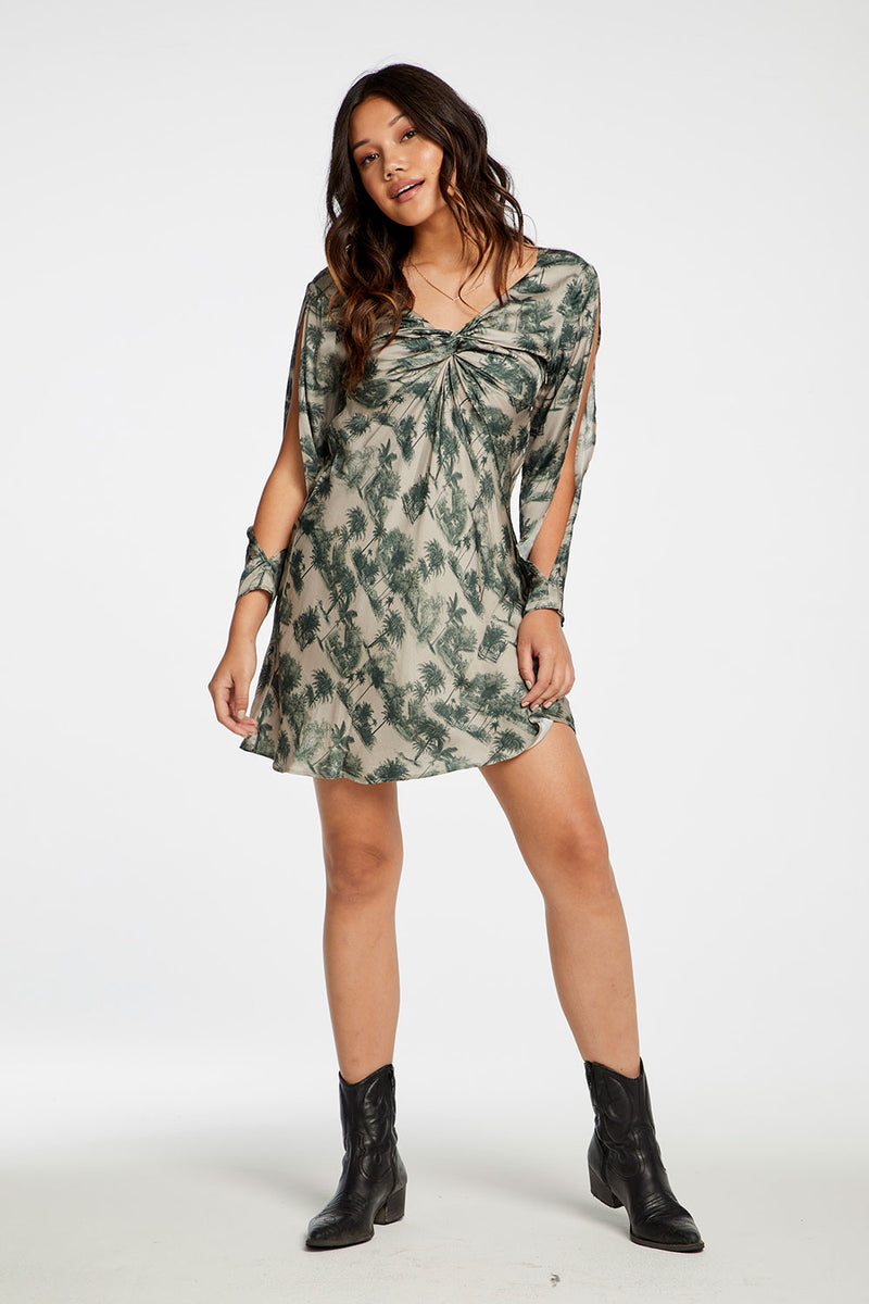 Silky Basics Twist Front Split Open Back Mini Dress