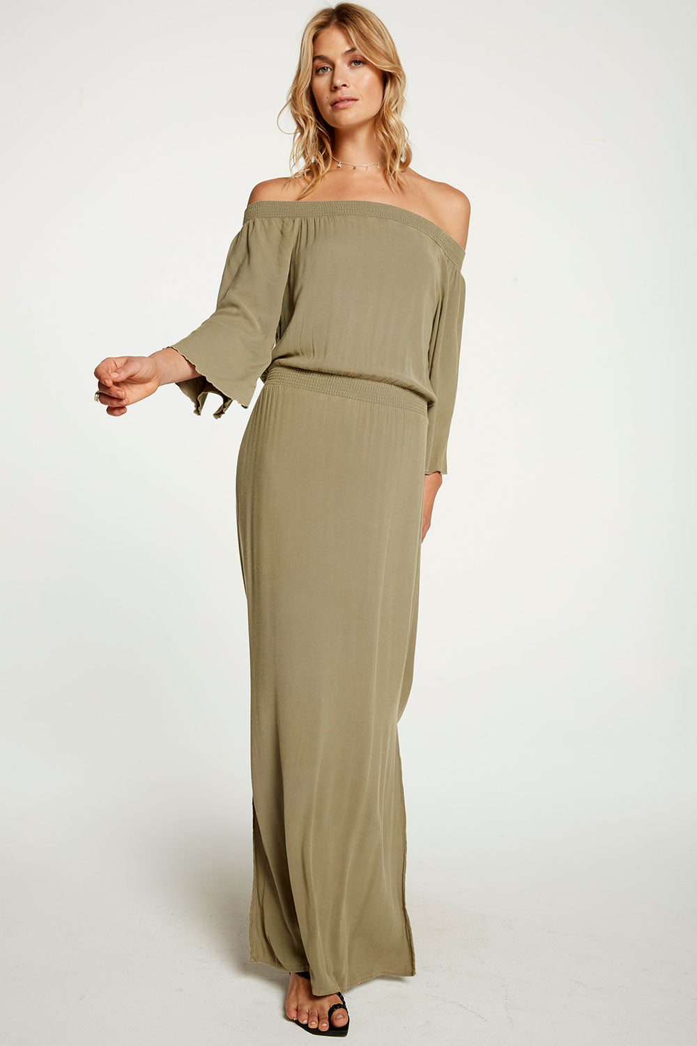 Heirloom Wovens Off Shoulder Angel Sleeve Slit Maxi Dress