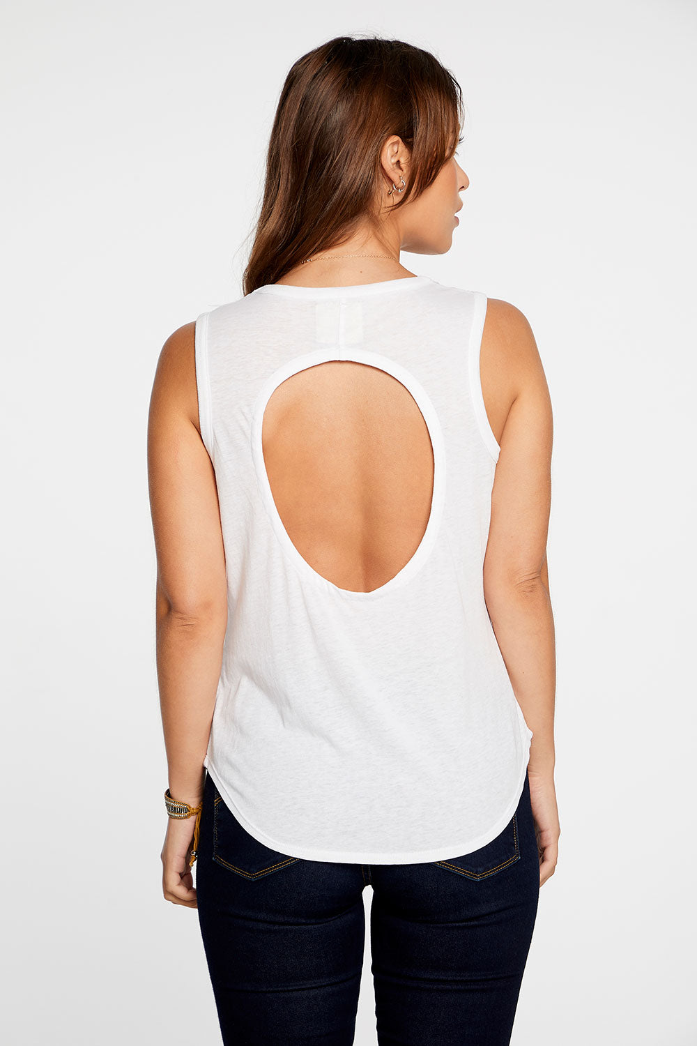 Recycled Vintage Jersey Open Back Shirttail Muscle in White WOMENS chaserbrand4.myshopify.com