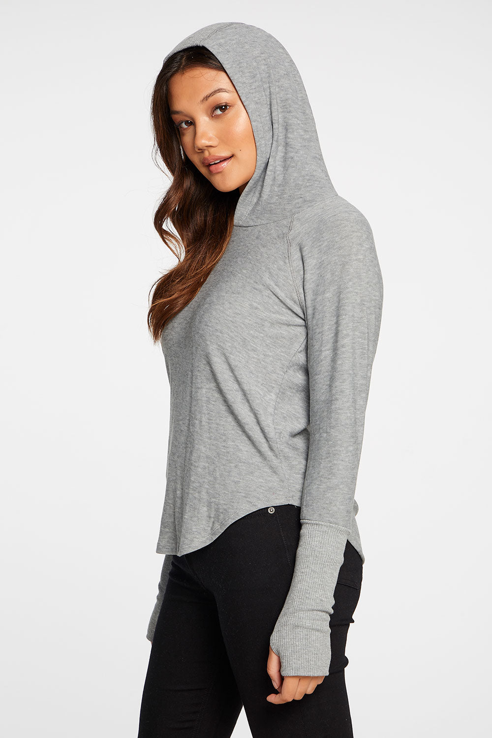 Cozy Knit Thumbhole Raglan Pullover Shirttail Hoodie in Heather Grey WOMENS chaserbrand4.myshopify.com