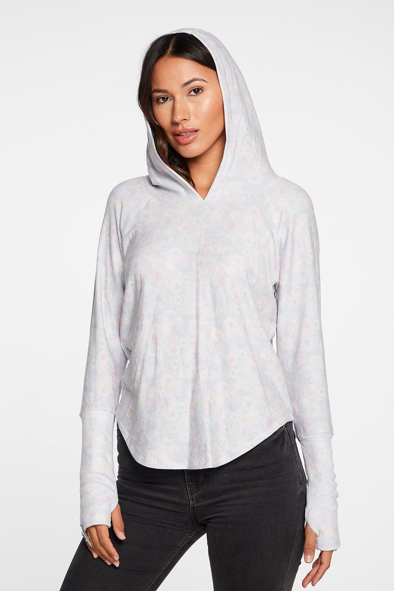 Cozy Knit Thumbhole Raglan Pullover Shirttail Hoodie in Wildflower WOMENS chaserbrand4.myshopify.com