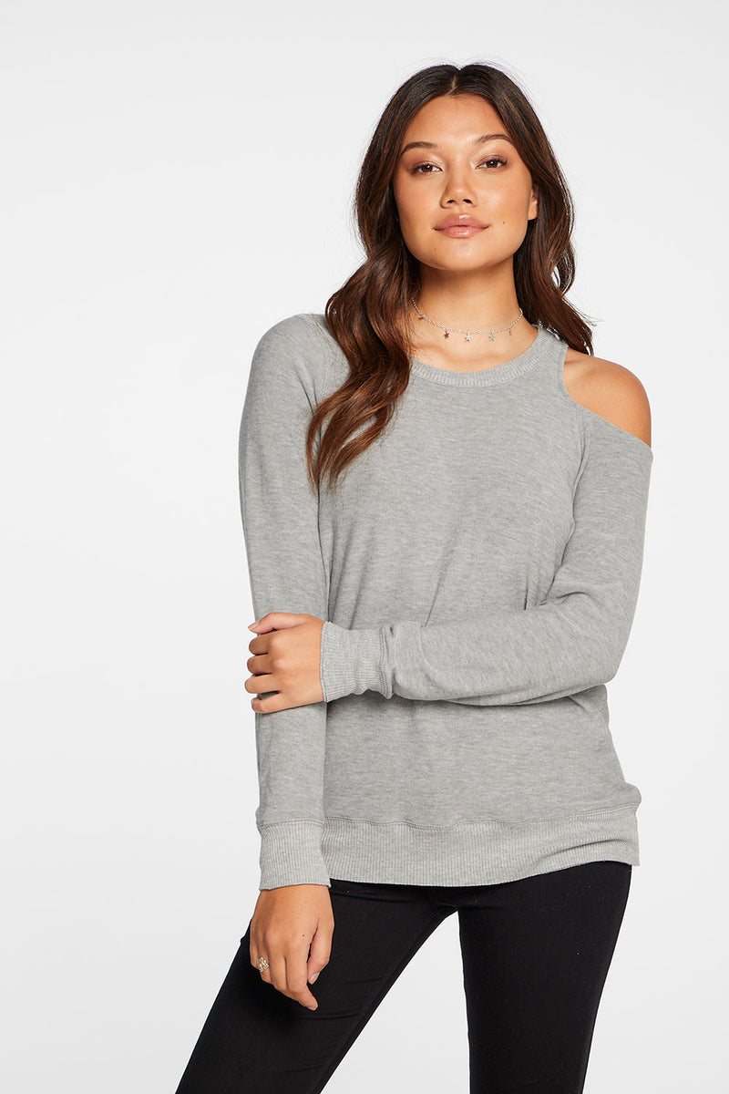 Cozy Knit Long Sleeve Vented Shoulder Pullover in Heather Grey WOMENS chaserbrand4.myshopify.com