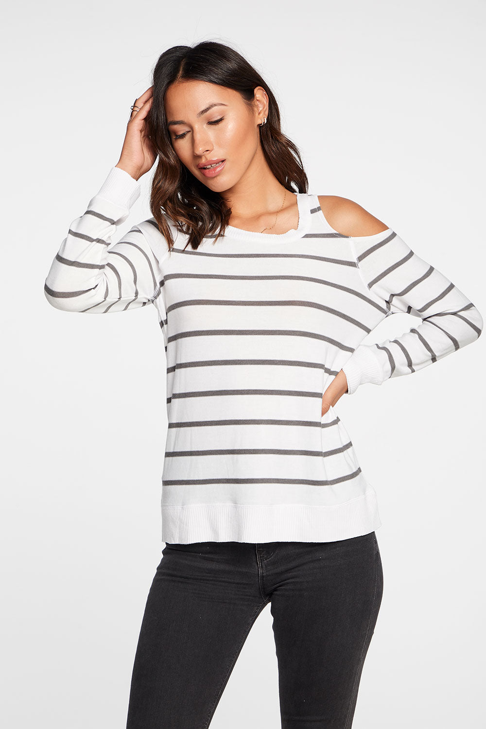 Cozy Knit Long Sleeve Vented Shoulder Pullover in Stripe WOMENS chaserbrand4.myshopify.com