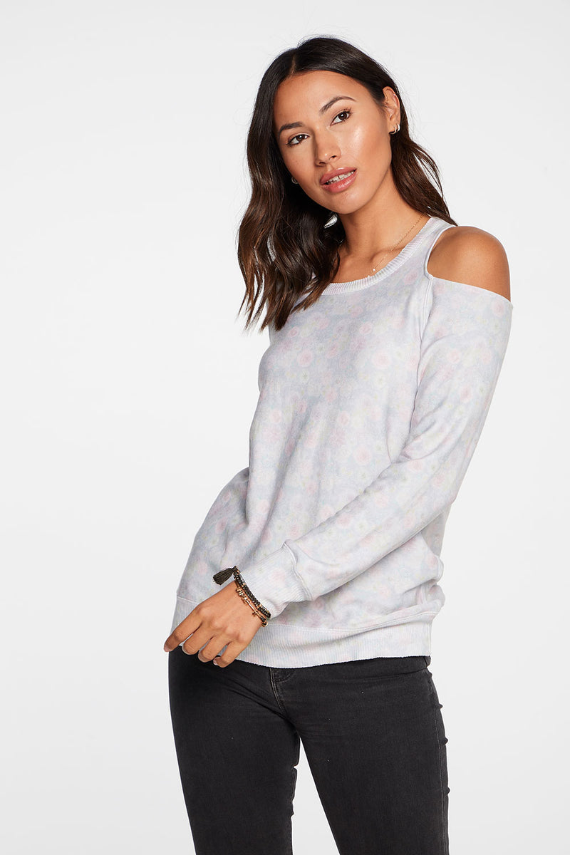 Cozy Knit Long Sleeve Vented Shoulder Pullover in Wildflower WOMENS chaserbrand4.myshopify.com
