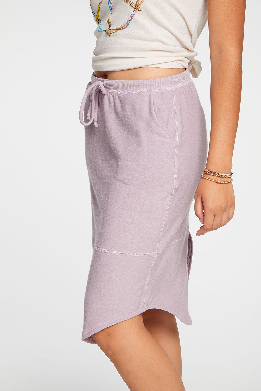 Cozy Knit Shirttail Midi Skirt in Hydrangea WOMENS chaserbrand4.myshopify.com