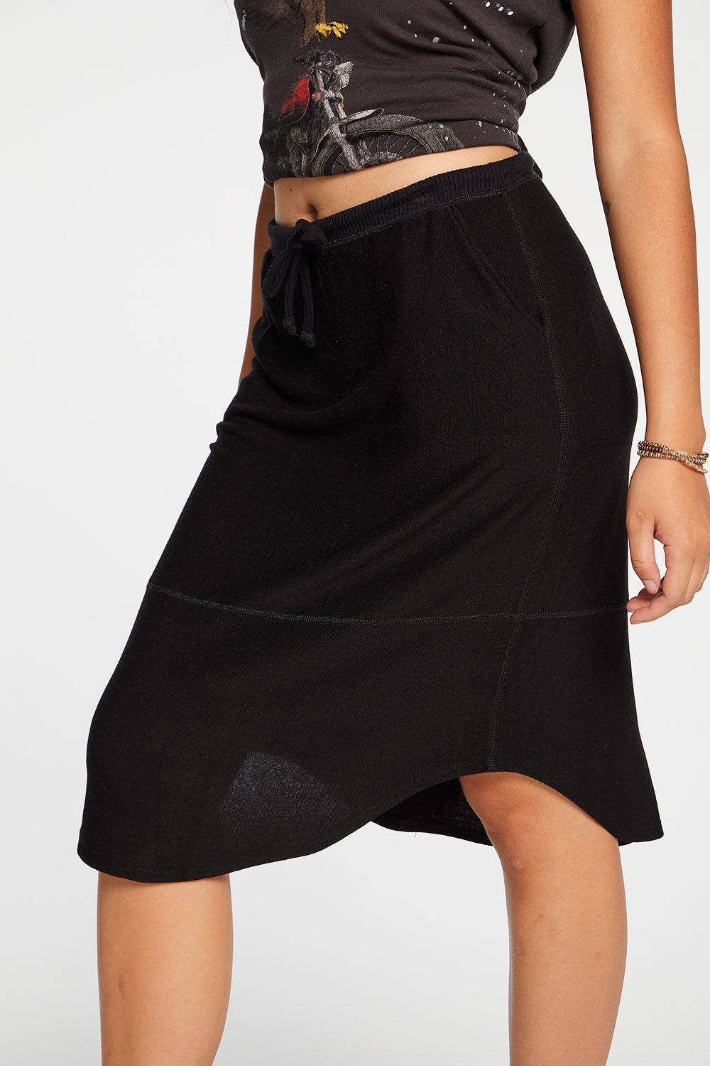 Cozy Knit Shirttail Midi Skirt in True Black WOMENS chaserbrand4.myshopify.com