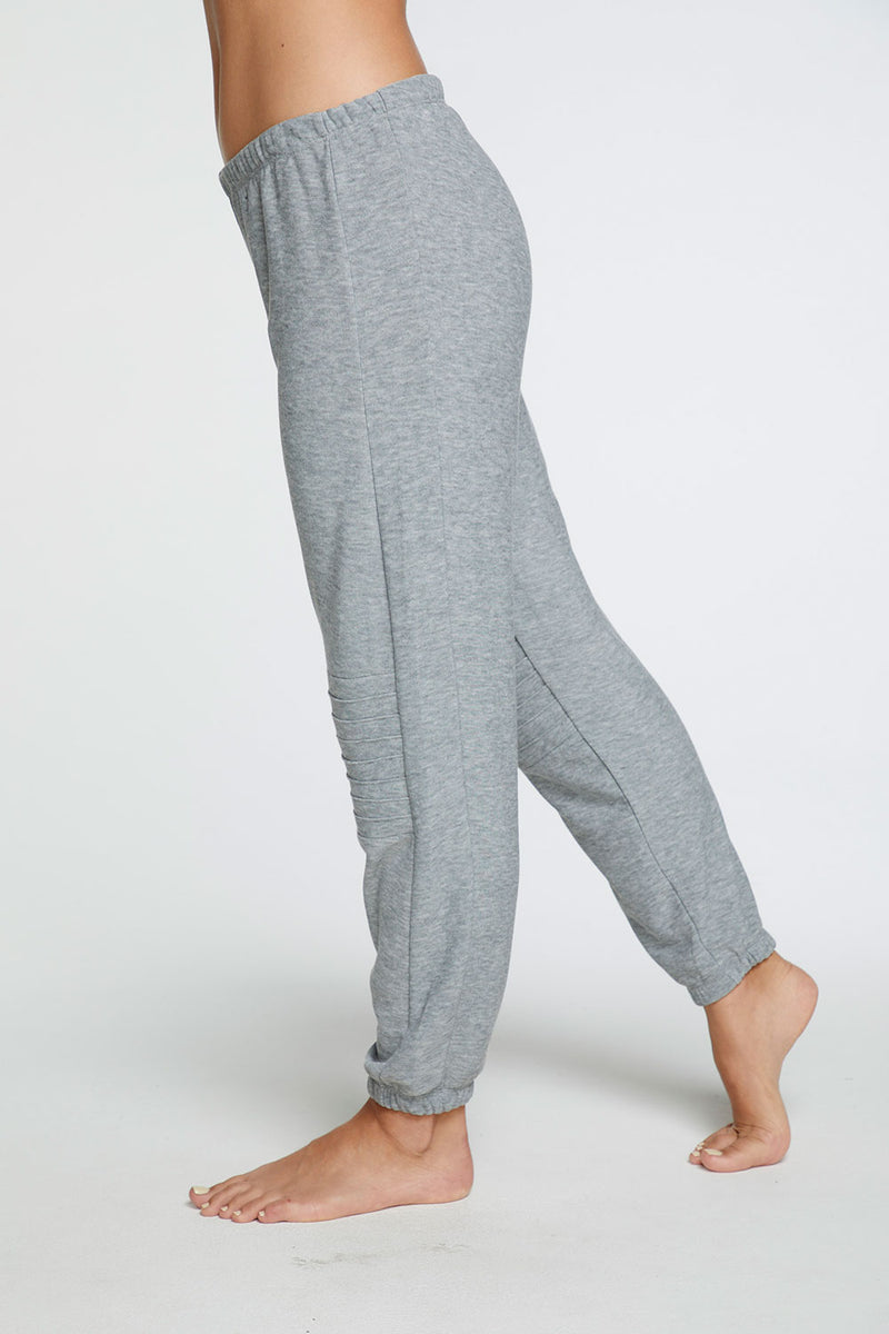 Cozy Knit Slouchy Moto Jogger in Heather Grey WOMENS chaserbrand4.myshopify.com