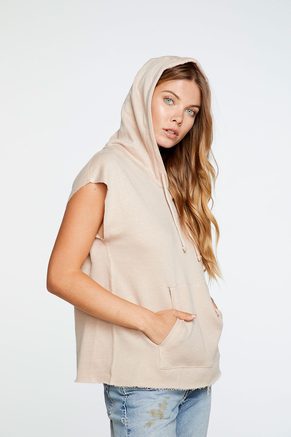 Linen French Terry Pullover Hoodie with Kanga Pocket in Glowing Tan