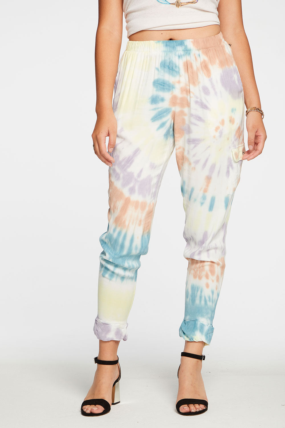 Heirloom Wovens Slouchy Rolled Cargo Pants in Tie Dye WOMENS chaserbrand4.myshopify.com