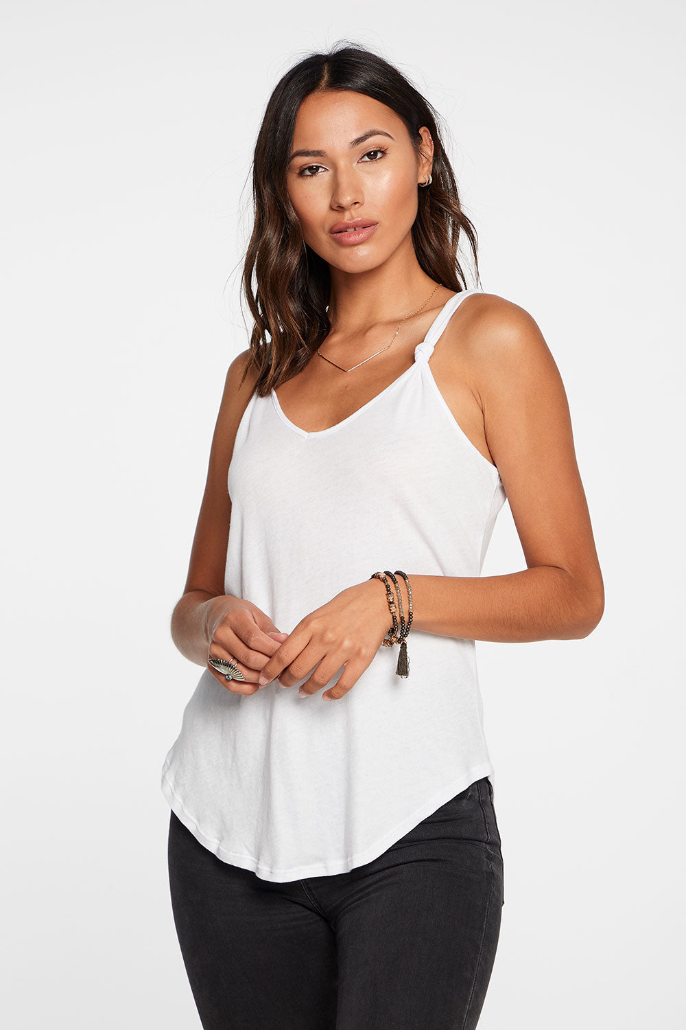 Gauzy Cotton Knotted Double V Tank in White
