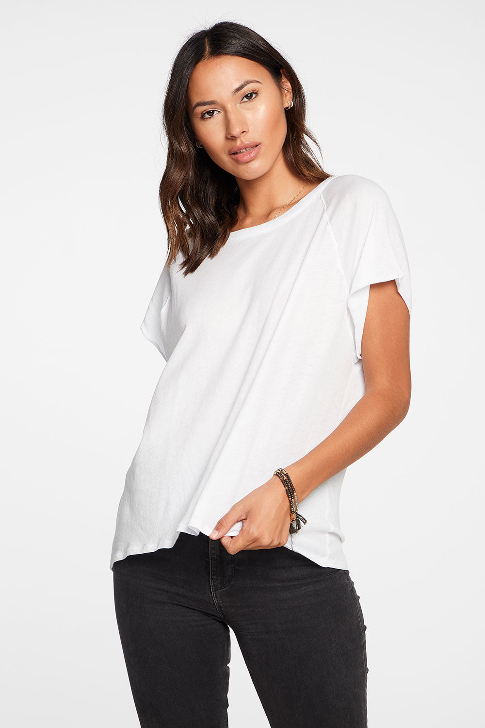 Gauzy Cotton Cap Sleeve Hi Lo Raglan Tee in White